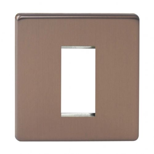 Varilight XDYG1S.BZ Screwless Brushed Bronze DataGrid Plate (1 DataGrid Space)